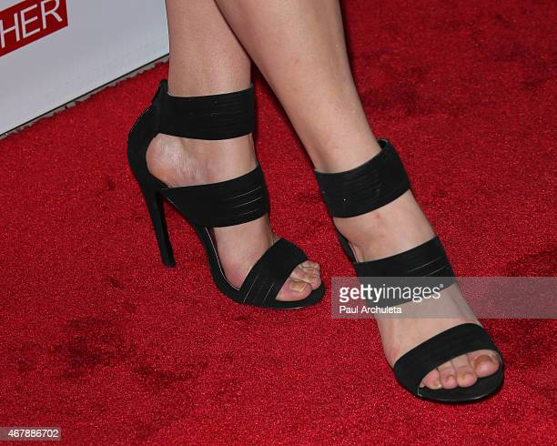 Actress Kelli Goss Shoe Detail attends the special screening of A Girl Like Her at The ArcLight Hollywood on March 27 2015 in Hollywood California