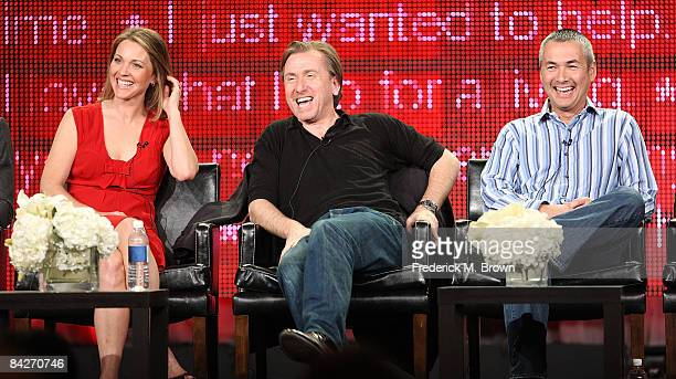 """Actress Kelli Williams, actor Tim Roth and executive producer Steven Maeda of the television show """"Lie to Me"""" speaks during the Fox Network portion..."""