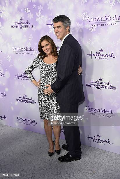 Actress Kellie Martin and her husband Keith Christian arrive at the Hallmark Channel and Hallmark Movies and Mysteries Winter 2016 TCA Press Tour at...