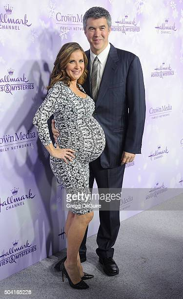 Actress Kellie Martin and husband Keith Christian arrive at the Hallmark Channel and Hallmark Movies and Mysteries Winter 2016 TCA Press Tour at...