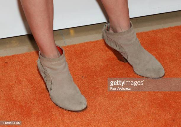 Actress Kellie Martin shoe detail attends the Lupus LA 2019 Hollywood Bag Ladies Luncheon at The Beverly Hilton Hotel on November 22 2019 in Beverly...