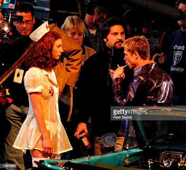 Actress Kelly Adkins films a scene with actor Brad Pitt in the movie 'Ocean''s Eleven' April 2001 in Las Vegas NV