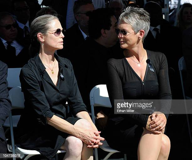 Actress Kelly Curtis and her sister actress Jamie Lee Curtis attend the funeral for their father Tony Curtis at Palm Mortuary Cemetary October 4 2010...