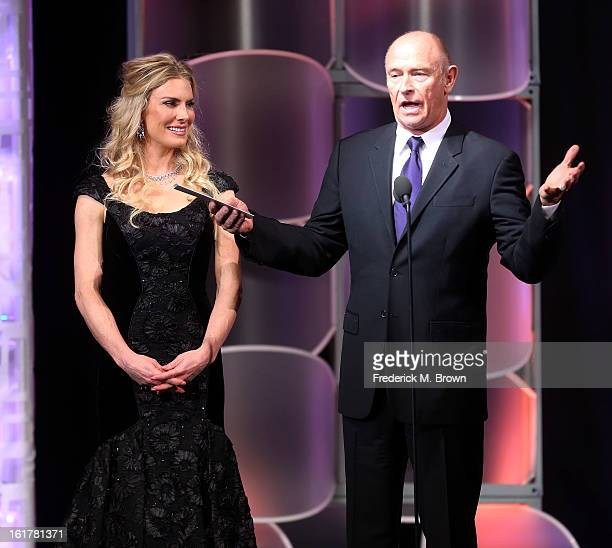 Actress Kelly Greyson and actor Corbin Bernsen speak during the 21st Annual Movieguide Awards at the Universal Hilton Hotel on February 15, 2013 in...