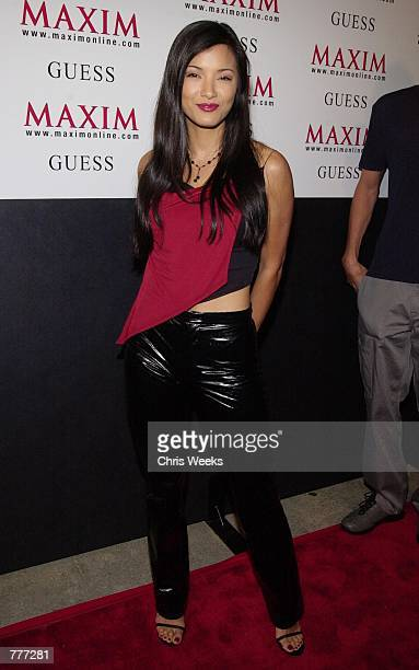 Actress Kelly Hu arrives at Maxim magazine's Maxim Motel party August 10 2000 in Los Angeles The event was billed as LA's wildest party this year