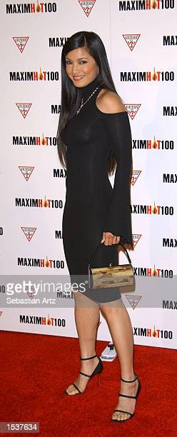 Actress Kelly Hu arrives at Maxim's Hot100 party April 25 2002 in Los Angeles CA