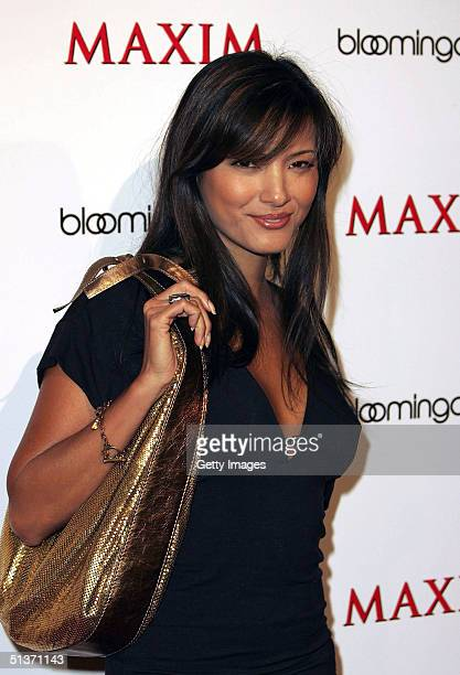 Actress Kelly Hu arrives for the Maxim Magazine Bowls for Dollars event at Lucky Strike Lanes on Hollywood Boulevard on September 28 2004 in Los...