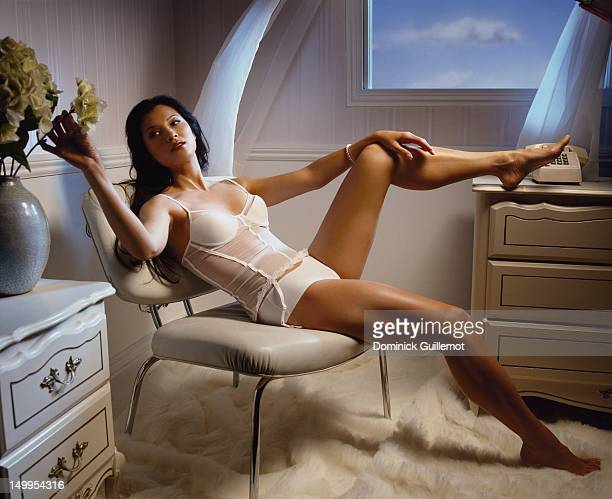 Actress Kelly Hu is photographed for Maxim Magazine on May 1 2002 in Los Angeles California