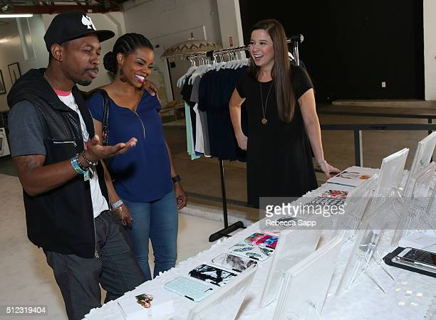 Actress Kelly Jenrette and Melvin Jackson Jr attend attends Kari Feinstein's Style Lounge presented by LIFX on February 25 2016 in Los Angeles...