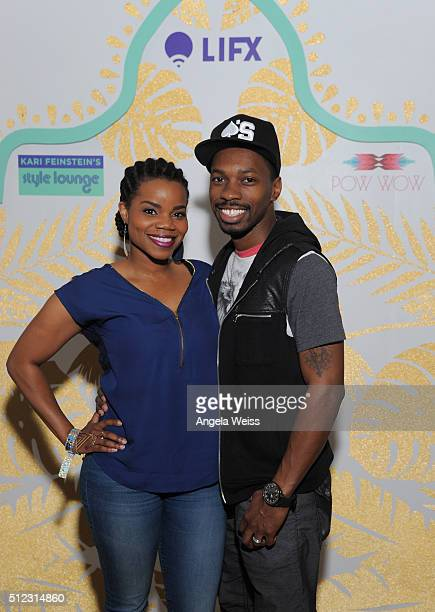 Actress Kelly Jenrette and Melvin Jackson Jr attend Kari Feinstein's Style Lounge presented by LIFX on February 25 2016 in Los Angeles California