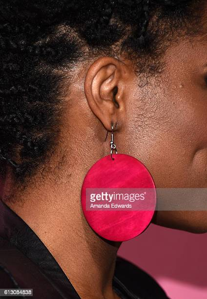 """Actress Kelly Jenrette, earring detail, arrives at the premiere of HBO's """"Insecure"""" at the Nate Holden Performing Arts Center on October 6, 2016 in..."""