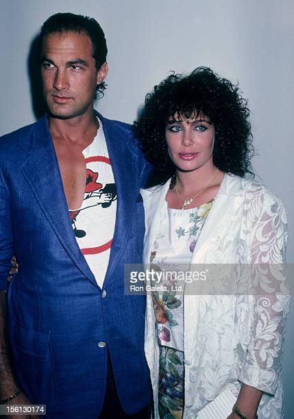 Actress Kelly LeBrock and actor Steven Seagal attending 'Opening of Melrose Art Gallery' on May 15 1986 in Melrose California