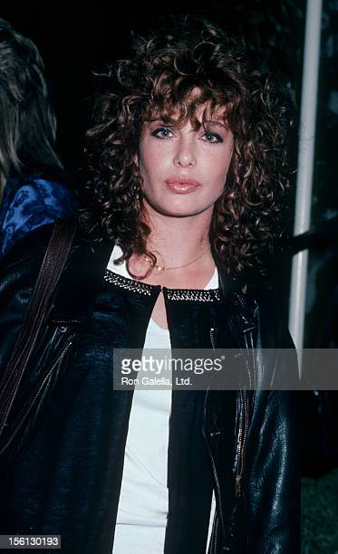 Actress Kelly LeBrock being photographed on November 13 1985 at Spago Restaurant in West Hollywood California