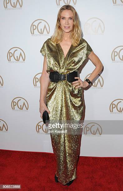 Actress Kelly Lynch arrives at the 27th Annual Producers Guild Awards at the Hyatt Regency Century Plaza on January 23 2016 in Century City California