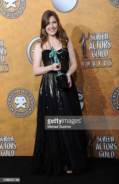 Actress Kelly Macdonald poses in the press room at the TNT/TBS broadcast of the 17th Annual Screen Actors Guild Awards held at The Shrine Auditorium...