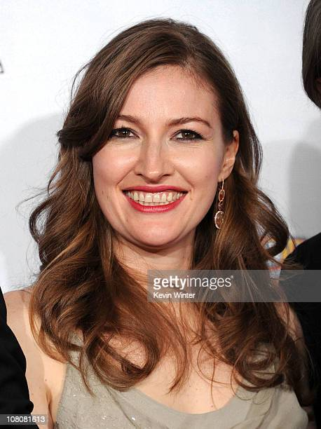 Actress Kelly Macdonald poses with the award for Best Television Series for Boardwalk Empire poses in the press room at the 68th Annual Golden Globe...