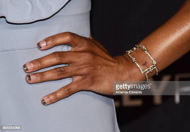 Actress Kelly McCreary bracelet and manicure detail attends The Paley Center For Media's 34th Annual PaleyFest Los Angeles Grey's Anatomy screening...