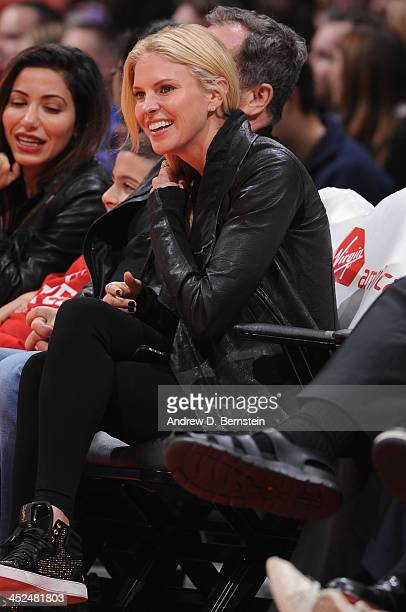 Actress Kelly Noonan looks on during a game between the New York Knicks and the Los Angeles Clippers at Staples Center on November 27 2013 in Los...