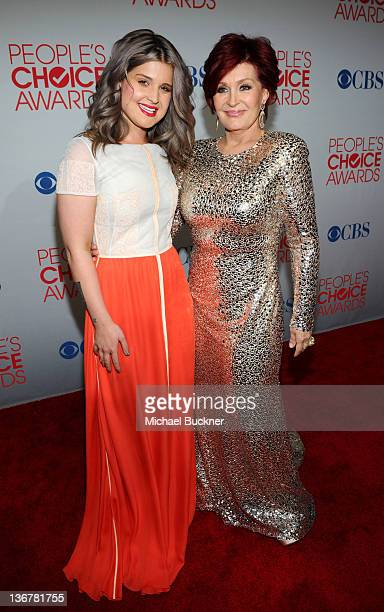 Actress Kelly Osbourne and her mom Sharon Osbourne arrive at the 2012 People's Choice Awards at Nokia Theatre LA Live on January 11 2012 in Los...