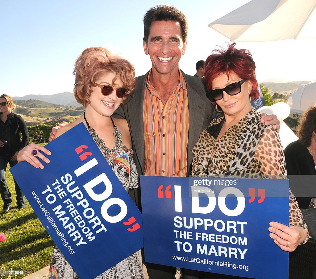 Actress Kelly Osbourne, senator Mark Leno and actress Sharon Osbourne attend Equality California's Harvey Milk Day Celebration At The Osbourne Estate Hill House on May 22, 2010 in Hidden Hills, California.