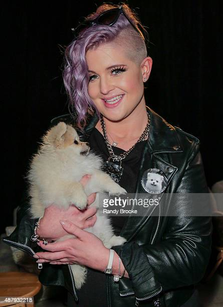 Actress Kelly Osbourne with her dog Poly O backstage at the Francesca Liberatore Runway Spring 2016 New York Fashion Week The Shows at The Dock...
