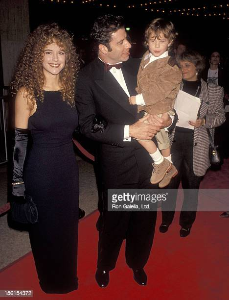 Actress Kelly Preston actor John Travolta and actor Lorne Sussman attend the 'Look Who's Talking Too' Century City Premiere on December 13 1990 at...