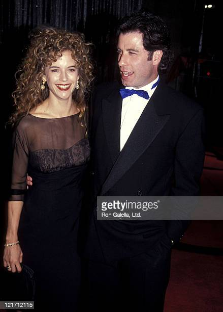 Actress Kelly Preston and actor John Travolta attend the L Ron Hubbard Life Exhibition Opening Night on April 20 1991 at the Hollywood Guaranty...