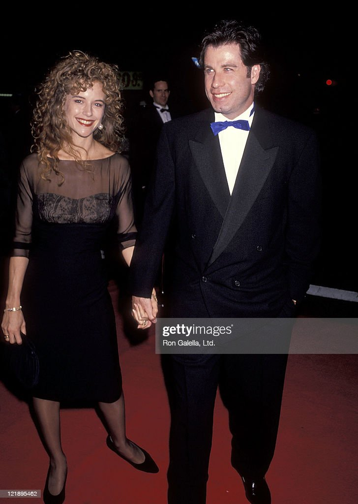 Actress Kelly Preston and actor John Travolta attend the L. Ron Hubbard Life Exhibition Opening Night on April 20, 1991 at the Hollywood Guaranty Building in Hollywood, California.