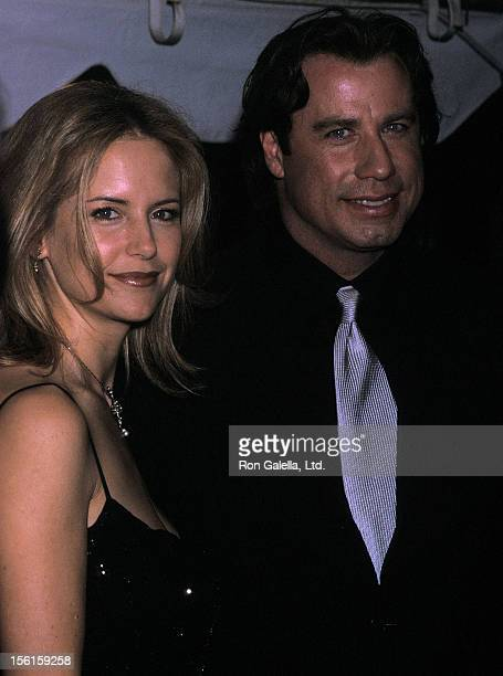 Actress Kelly Preston and actor John Travolta attend the 'Swordfish' New York City Premiere on May 11 2001 at the Ziegfeld Theater in New York City
