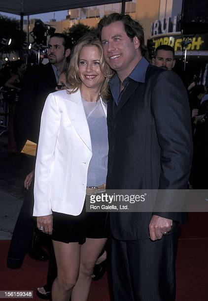 Actress Kelly Preston and actor John Travolta attend the 'Swordfish' Westwood Premiere on June 4 2001 at Mann Village Theatre in Westwood California