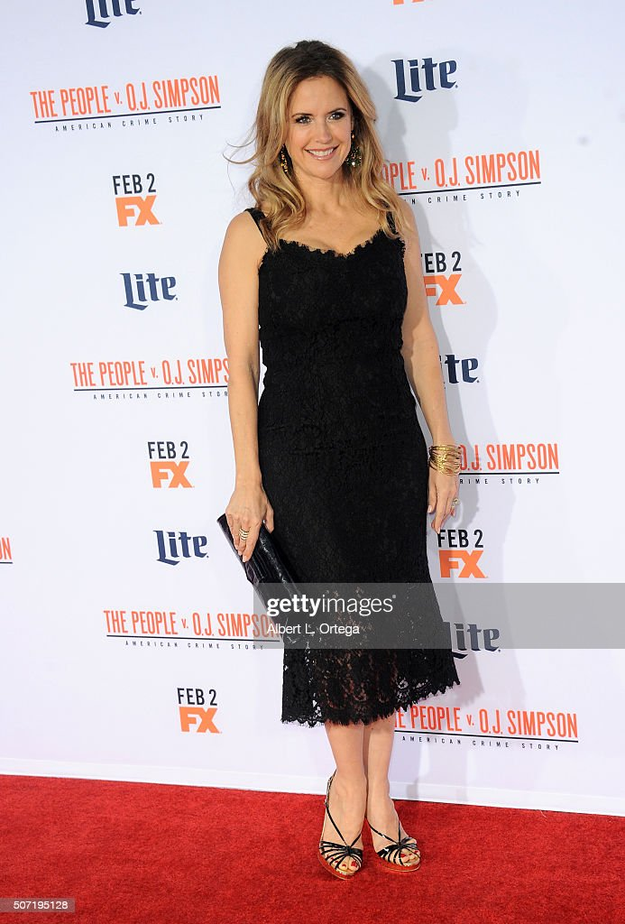 Actress Kelly Preston arrives for premiere of 'FX's 'American Crime Story - The People V. O.J. Simpson' held at Westwood Village Theatre on January 27, 2016 in Westwood, California.