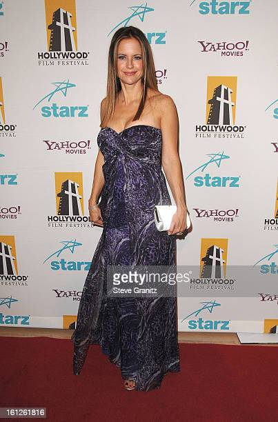 Actress Kelly Preston arrives to Hollywood Film Festival's Hollywood Awards at the Beverly Hilton Hotel on October 22 2007 in Beverly Hills California