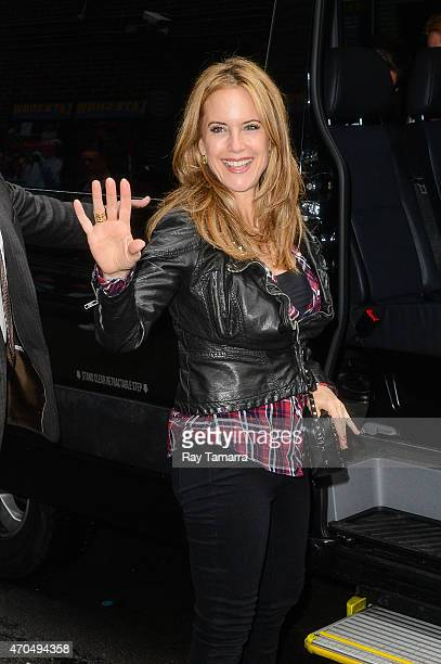 Actress Kelly Preston enters the Late Show With David Letterman taping at the Ed Sullivan Theater on April 20 2015 in New York City