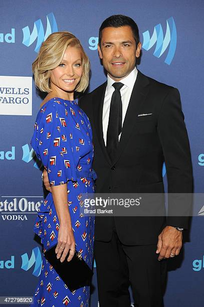 Actress Kelly Ripa and Mark Consuelos attend the VIP Red Carpet Suite hosted by Ketel One Vodka at the 26th Annual GLAAD Media Awards in New York on...