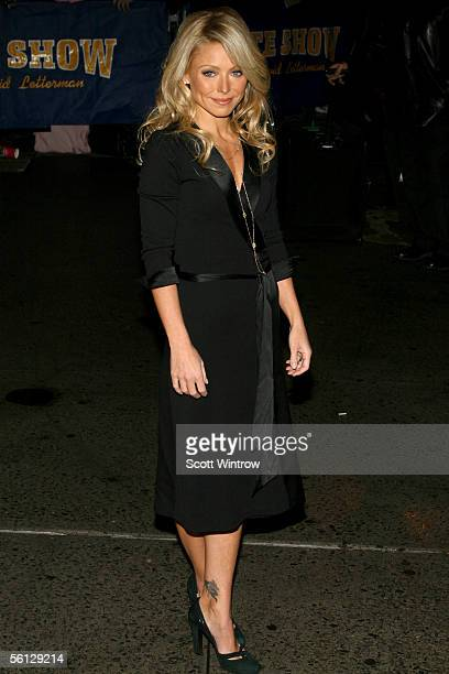 Actress Kelly Ripa arrives for a taping of The Late Show With David Letterman at The Ed Sullivan Theater on November 9 2005 in New York City