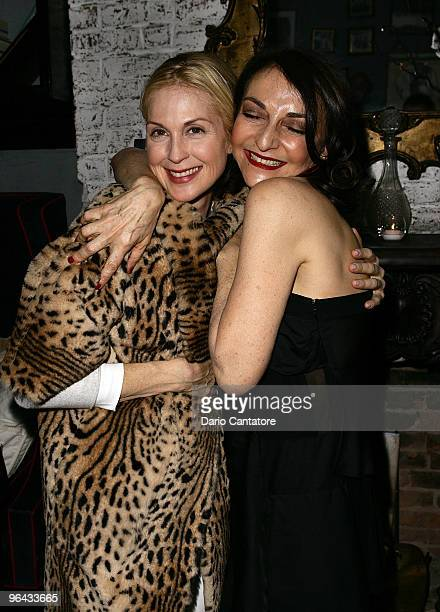 Actress Kelly Rutherford and Nathalie Rykiel attend the Sonia Rykiel Pour HM Knitwear Collection Preview at Bobo on February 4 2010 in New York City