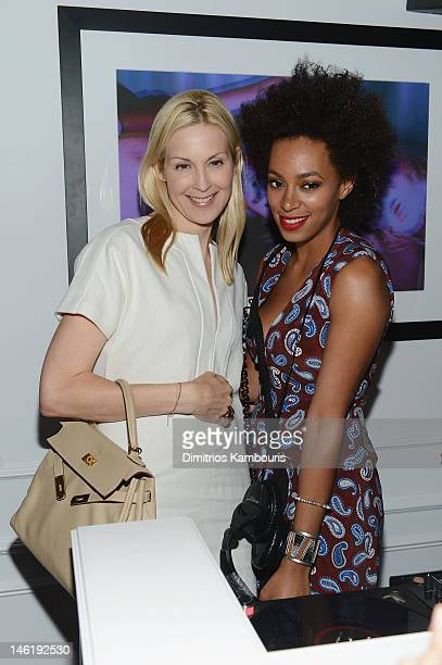 Actress Kelly Rutherford and Solange Knowles attend PerrierJouet celebrates Michael Kalish's Belle Epoque Sculpture on June 11 2012 in New York City