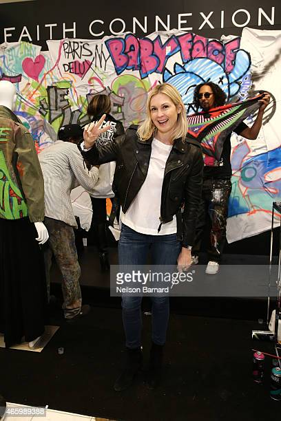Actress Kelly Rutherford attends the Faith Connexion Street Art Tour hosted by Saks Fifth Avenue and Marie Claire at Saks Fifth Avenue on March 12...