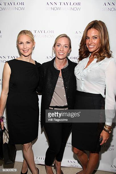 Actress Kelly Rutherford designer Lisa Axelson and Kelly Bensimon pose backstage after the Ann Taylor See Now Wear Now runway show at The New York...
