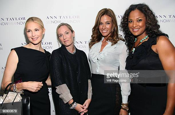Actress Kelly Rutherford designer Lisa Axelson Kelly Bensimon and professional boxer Layla Ali pose backstage after the Ann Taylor See Now Wear Now...