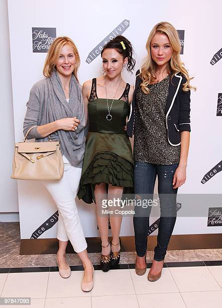 Actress Kelly Rutherford designer Stacey Bendet and Katrina Bowden attend the AliceOlivia launch party at Saks Fifth Avenue on March 18 2010 in New...