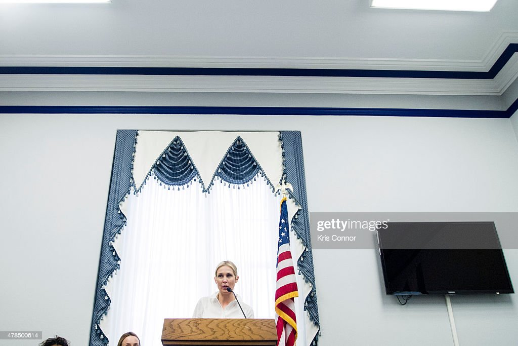 Actress Kelly Rutherford, founder of Children's Justice Campaign, speaks during a Capitol Hill briefing to discuss 'the silent suffering of American children and their left-behind parents who are victims of international parental child abduction' in the Cannon House Office Building on June 25, 2015 in Washington DC.