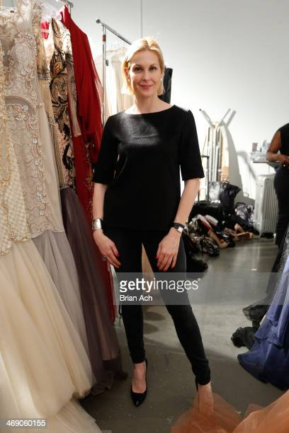 Actress Kelly Rutherford poses backstage at Nolcha Fashion Week New York Fall/Winter 2014 at Pier 59 on February 12 2014 in New York City