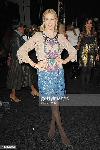 Actress Kelly Rutherford poses backstage at the Vivienne Tam Fashion Show during MercedesBenz Fashion Week Fall 2015 at The Theatre at Lincoln Center...