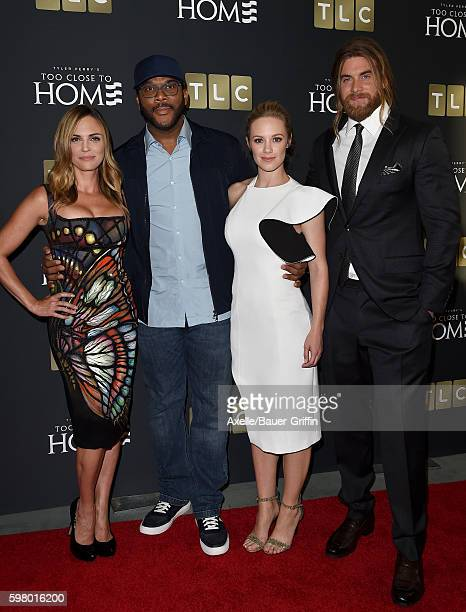Actress Kelly Sullivan director Tyler Perry actors Danielle Savre and Brock O'Hurn arrive at the screening of 'Too Close to Home' at The Paley Center...
