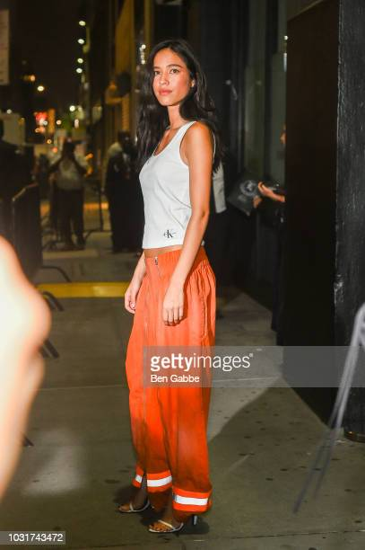 Actress Kelsey Asbille Chow attends the Calvin Klein Collection outside arrivals during New York Fashion Week on September 11 2018 in New York City