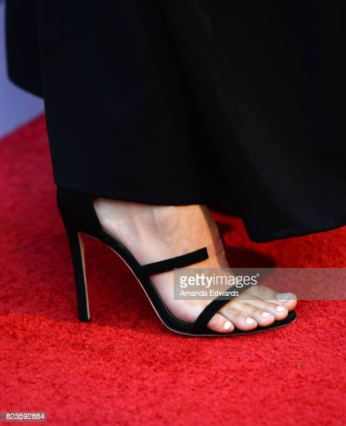 Actress Kelsey Asbille shoe detail arrives at the premiere of The Weinstein Company's 'Wind River' at The Theatre at Ace Hotel on July 26 2017 in Los...