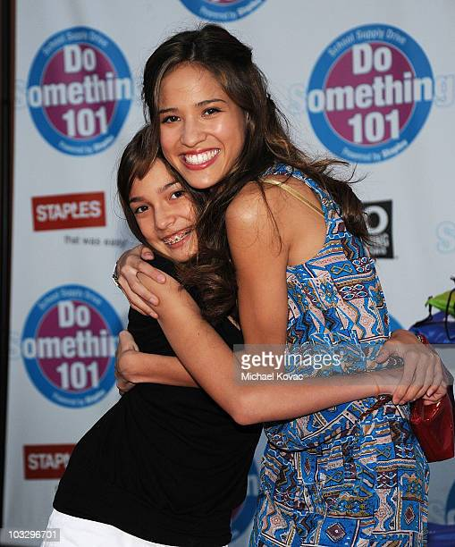 Actress Kelsey Chow and sister Kiersten arrive at the Do Something 101 Back Pack Party at The Globe Theatre at Universal Studios on August 8 2010 in...