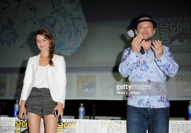 Actress Keri Russell and actor Andy Serkis speak at the 20th Century Fox Dawn of the Planet of the Apes panel during ComicCon International 2013 at...
