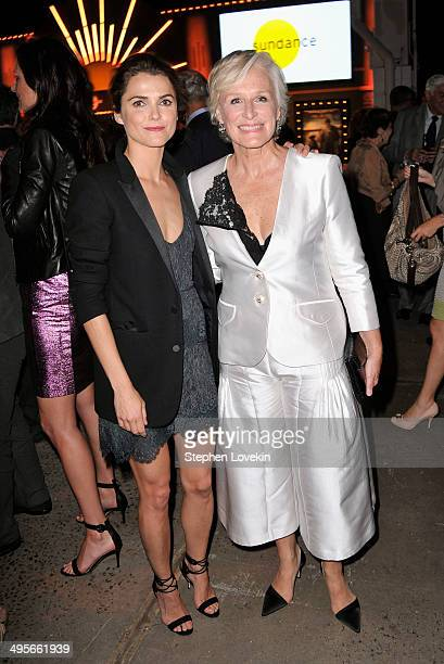 Actress Keri Russell and actress and honoree Glenn Close attends the Sundance Institute New York Benefit 2014 at Stage 37 on June 4 2014 in New York...